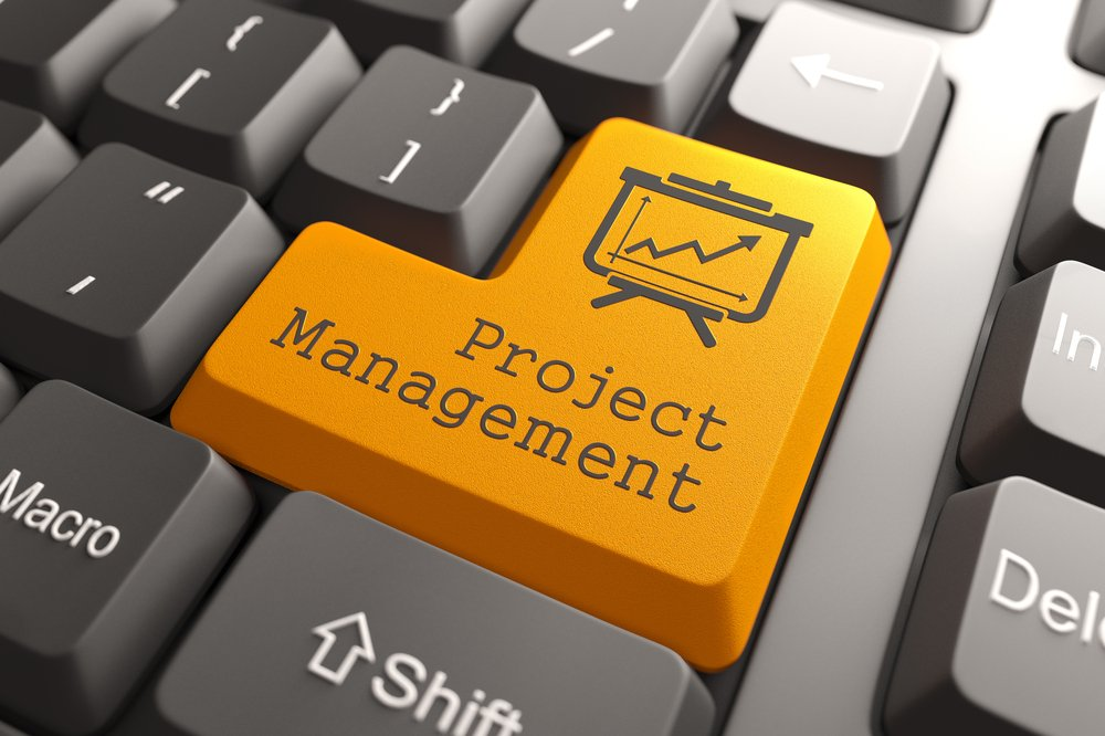 Orange Project Management Button on Computer Keyboard. Business Concept.-1